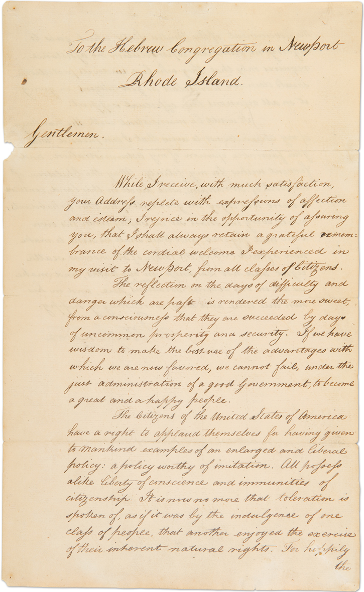 George Washington's letter to Hebrew Congregation in Newport, Rhode Island