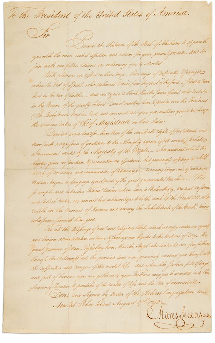 Moses Seixas to George Washington, August 17, 1790